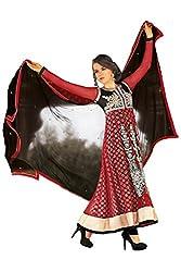 Jinaam Dress Women's Net Dress Material (Jd-3019 _Red _Free Size)