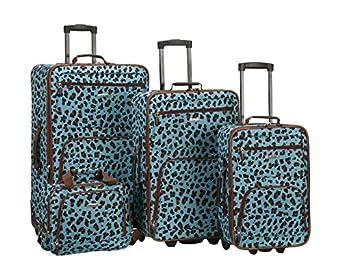 Rockland 4 Piece Luggage Set, Blue Leopard, One Size