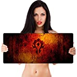 SMAIGE Extended Gaming Mouse Pad/Mat, XXL Large Mousepad, Stitched Edges, 35.4 × 11.8 × 0.12 Inches (HORDE, 30x90cm) (Color: Black, Tamaño: 30x90)