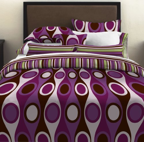 City Scene Retro Radar Purple Duvet Set, Full/Queen