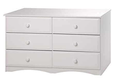 Camaflexi Essentials Double Wood Dresser, Six Drawer, White