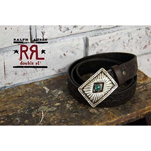 (ラルフローレンダブルアールエル) ralph lauren RRL ターコイズ×バックル カービングレザー ベルト/BROWN 36 [並行輸入品]