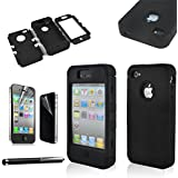 SQdeal Hybrid Hard Case Protective Cover for iphone 4 / 4s with Touch Stylus Pen and Front/Back Screen Protector (Black)