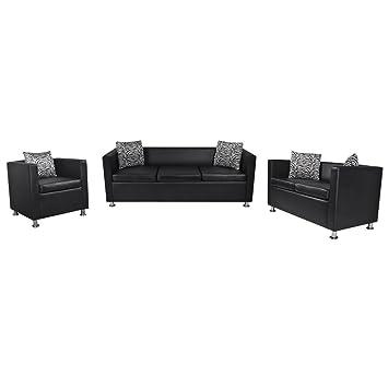 vidaXL Ensemble de canapé 3 places, 2 places et Fauteuil cube en cuir artificiel noir