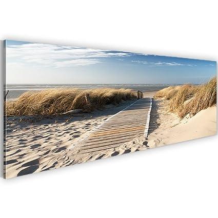 Bild & Kunstdruck Prestigeart 6040141a Bilder auf Leinwand XXL 120 x 40 cm Kunstdrucke, Landschaft, Strand, Sand, Meer, Steeg, Himmel Wandbild