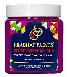 Prabhat Paints Acrylic Fluorescent Paint (500 g, Matt Violet,Glows only under UV Tube Light or UV Bulb) (Water based paint)