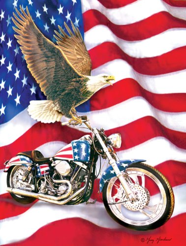 Symbols of Freedom Flag Eagle Patriotic Motorcycle 500 Piece Jigsaw Puzzle