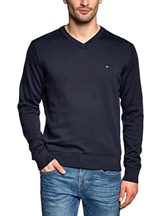 Tommy Hilfiger - Pacific - Pull - Uni - Col V - Manches longues - Homme - Bleu (Marine) - FR : Small (Taille fabricant : S)
