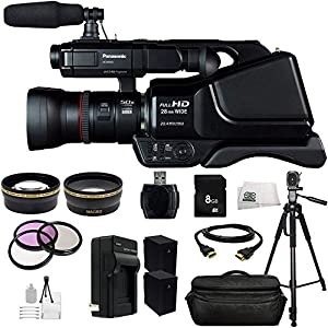 Panasonic HC-MDH2 AVCHD HCMDH2 Shoulder Mount Camcorder (PAL) + Huge SSE Accessories Bundle Including .43x Wide Angle Lens, 2.2x Telephoto Lens, 3 Piece Multi-Coated Filter Kit, 8GB SD Memory Card, USB Memory Card Reader, HDMI Cable, 2 Extended Life Repla
