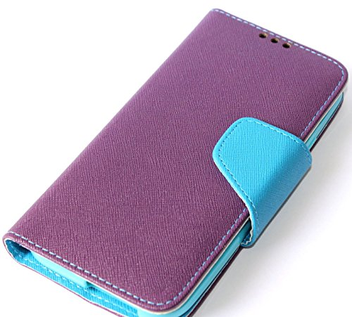 Mylife Wine Purple + Light Turquoise {Classic Magnetic Tab Design} Faux Leather (Card, Cash And Id Holder + Magnetic Closing) Slim Wallet For The All-New Htc One M8 Android Smartphone - Aka, 2Nd Gen Htc One (External Textured Synthetic Leather With Magnet