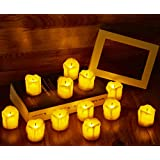 [Pack of 12] Waynewon Melting Wax Flameless Tealight Candles with Flickering Flame - Battery Powered- Perfect for Wedding/Party Decoration(Yellow Body)