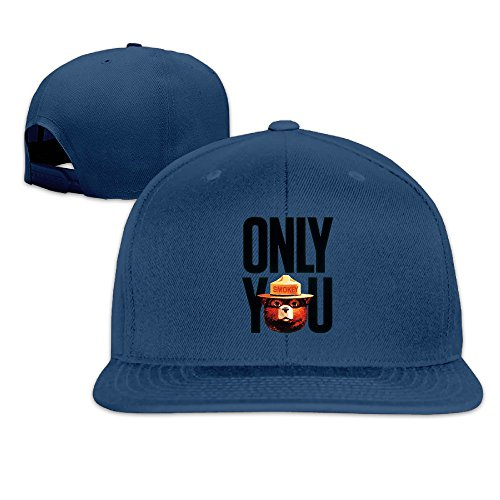 ElishaJ Flat Billed Smoked Cartoon Bears Baseball Cap Hats Navy (Smokey The Bear Costume)