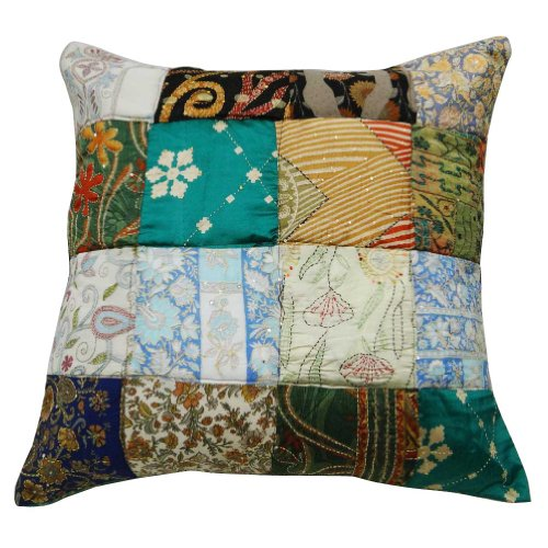 "Patchwork Handmade Couch Cushion Case Silk Blend Pillow Cover Indian Gift 24"" front-999958"