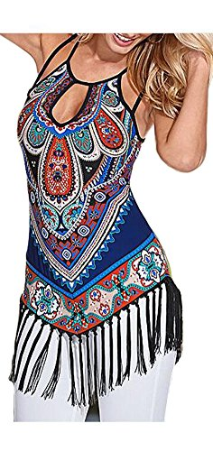 ETCYY Women's Summer Printed Vest Strap Camisole Casual Tassels Tank Tops, Small, muti-color muti-color Small (Women Summer Clothes compare prices)