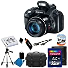 Canon PowerShot SX50 HS 12.1 MP Digital Camera with 50x Wide-Angle Optical Image Stabilized Zoom + Extra Battery + Full Size Tripod + Case & With 32GB Memory Card 11 Pieces Deluxe Accessory bundle