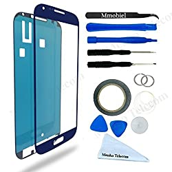 Samsung Galaxy S4 Blue Display Touchscreen replacement kit 12 pieces incl tools / pre cut Sticker / cleaning cloth / suction cup / wire MMOBIEL