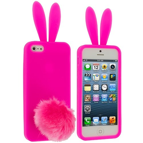Cell Accessories For Less (Tm) Hot Pink Bunny Silicone Design Soft Skin Case Cover For Apple Iphone 5 / 5S + Bundle (Stylus & Micro Cleaning Cloth) - By Thetargetbuys front-538513