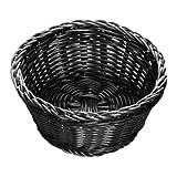 """Tablecraft M2477 Black Round Rattan Basket 7"""" x 3 1/4"""""""