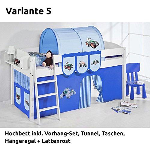 Hochbett Spielbett IDA Trecker Blau, mit Vorhang, weiß, Variante 5 günstig bestellen
