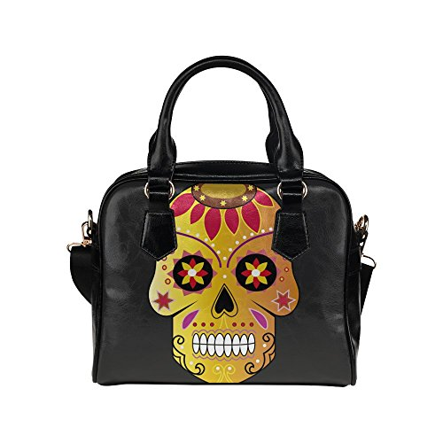 SLsenD Women's Golden Sugar Skull Leather Shell Shoulder Handbag (Wendy Adams Family)