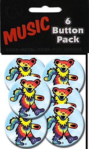 "C&D Visionary Grateful Dead Tye Dye Bear 1.25"" Button (6-Piece)"