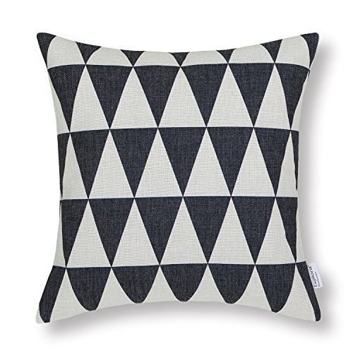 "Euphoria Home Decorative Cushion Covers Pillows Shell Cotton Linen Blend Ecru Black Triangles Chain Geometric Figure 18"" X 18"" front-588684"