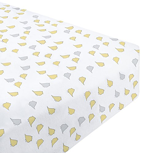 SwaddleDesigns Cotton Flannel Fitted Crib Sheet, Jewel Tone Little Chickies, Yellow