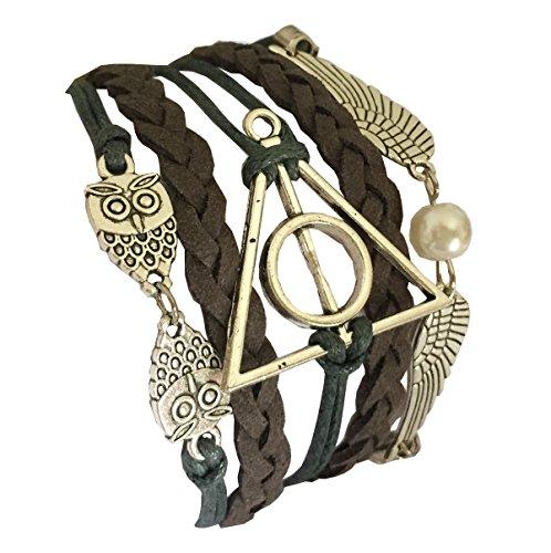 D'Amelie Harry Potter e i Doni della Morte - Bracciale, motivo gufo con boccino, argentato - doni della Morte & ali da gufo