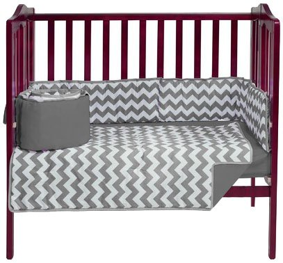 Baby Doll Chevron Port- A-Crib Bedding, Grey