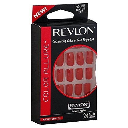 [REVLON - Color Allure Nails Medium Length Revlon Red - 24 Nails] (Red Fake Nails)