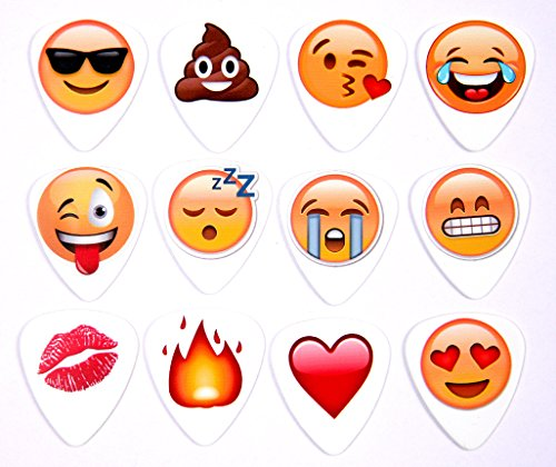 Emoji-Packet-von-12-Full-Colour-Gitarren-Plektrum-Plektren