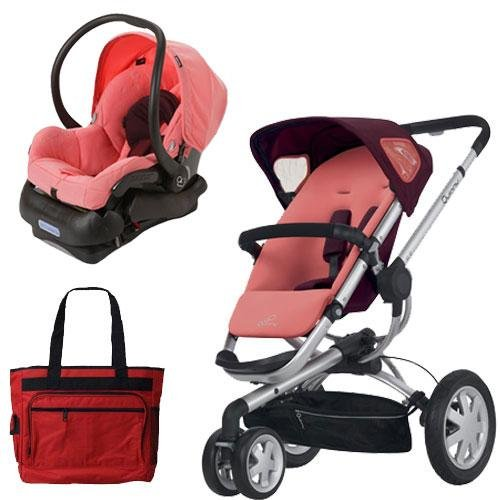 Quinny BUZ3TRSTRD1 Buzz 3 Travel System Pink Emily with Diaper Bag