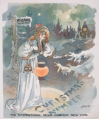Figaro Illustre - Christmas Number Vintage Poster (artist: Bac) France c. 1895 (9x12 Collectible Art Print, Wall Decor Travel Poster)