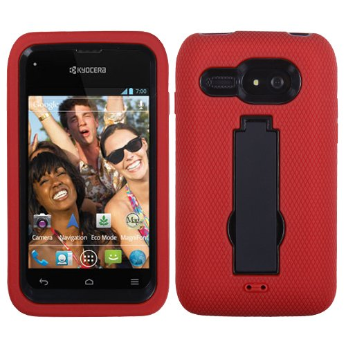 MyBat AKYOC5133HPCSYMS003NP Symbiosis Rugged Hybrid Case for Kyocera Event C5133 – Retail Packaging – Black/Red