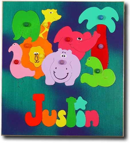 Picture of KidPuzzles Wood Name Puzzle with Knobs African Zoo Animals (B00564HK3K) (Pegged Puzzles)