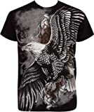 TG455T Flying Eagle Metallic Silver Embossed Short Sleeve Crew Neck Cotton Mens Fashion T-Shirt - Black / X-Large