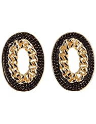 Covo Stud Earrings For Women (Golden And Black) (NHK-11849-1)