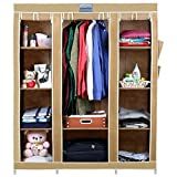 CbeeSo High Capacity Metal Frame Collapsible Wardrobe- (54 x 18 x 65 inches, Beige)