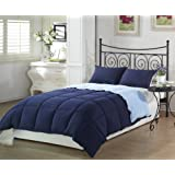 Chezmoi Collection 2-Piece Navy Light Blue Super Soft Goose Down Alternative Reversible Comforter Set Twin/Twin...
