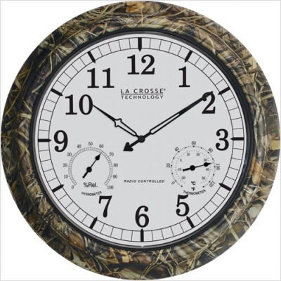 La Crosse Technology WT-3181 18-Inch Outdoor Analog Atomic Clock with Temperature and Humidity, Camouflage