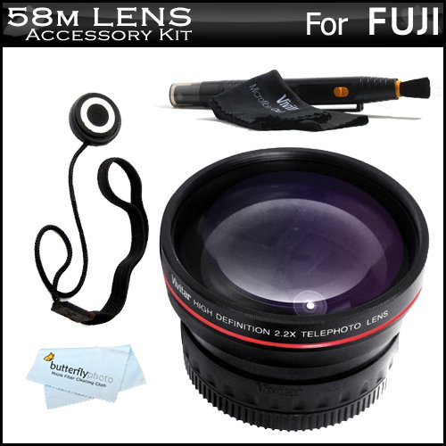 Vivitar 58mm Telephoto Lens Kit For Fuji FujiFilm Finepix HS20 EXR Digital Camera Includes High Definition 2.2x Telephoto Lens + LensPen Cleaning Kit + Lens Cap Keeper + Microfiber Cleaning Cloth