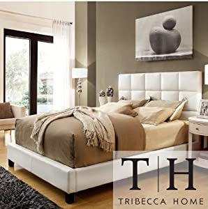 Tribecca Home Sarajevo Queen Sized White Faux Leather Bed Italian Style Bedroom