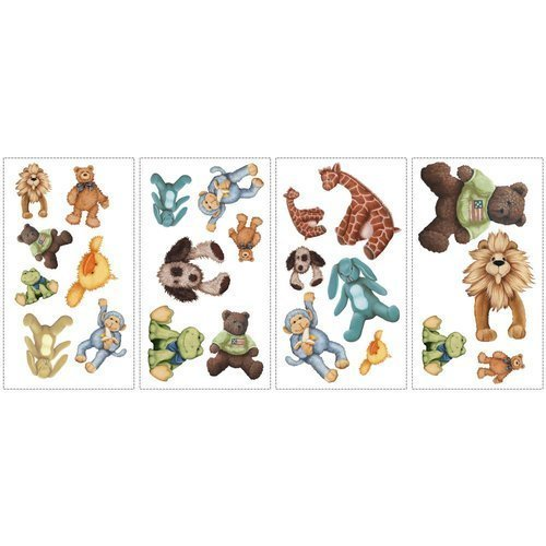 York Wallcoverings RMK1023SCS RoomMates Cuddle Buddies Peel & Stick Wall Decals, - 1