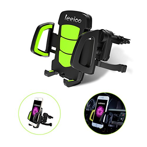 "Leeioo Car Phone Mount Holder, Universal Air Vent Cell Phone Holder Car Accessories for 3.5""-7"" iOS/Smartphones, iPhone 7,7 plus,6,6s plus,5,5s,Motorola,Blackberries ( Green phone holder)"