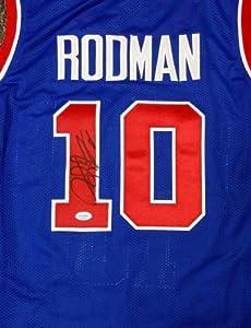 Dennis Rodman Autographed Blue Detroit Pistons Jersey PSA DNA