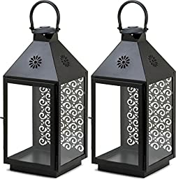 2 Sprightly Large Swirl Cutout Panel Glass Candle Lantern Table Centerpieces