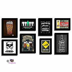 Art Street Set of 8 Quirky Quote Black Photo frames - Frames Bar theme wall quotes