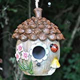 Decorative Bird House with Hanging Rope Floral Acorn Fun Garden Decor Height 17cm