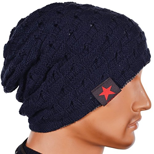 Thenice Cappello UomoReversibile Berretto Inverno Cap (Blu)