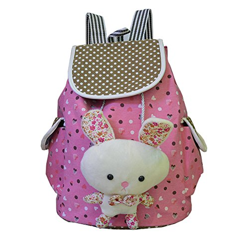 FTSUCQ Girls Canvas Bunny Student Backpack Travel Daypack Tote School Bags Shoulder Rosered Satchels